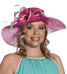 The Horsehair and Feathers Hat,S16BF605-FUCH/PINK