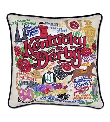 Catstudio Kentucky Derby Embroidered Pillow,Catstudio