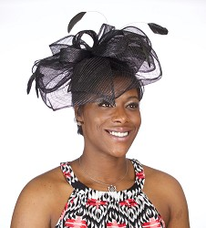 The Large Bow Headband Fascinator,KD57DERBY-BLK