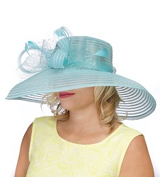 The Horsehair and Crinoline Lampshade Hat Turquoise
