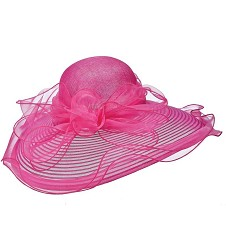 The Horsehair and Organza Lampshade Hat,LD78-FUCHSIA