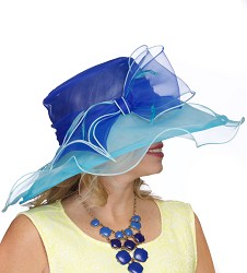 The Two-Tone Organza Hat,LD84-COBALT