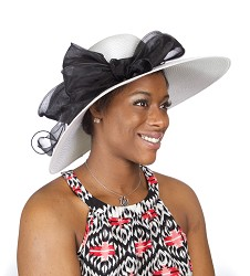 The Poly Braid with Organza Hat,LD85-WHITE/BLACK