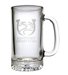 Kentucky Derby 143 Tankard Beer Stein Glass 16 Ounces