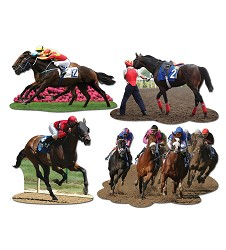 Horse Racing Cutouts Pack of 4