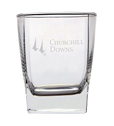 Churchill Downs Etched Square Double Old Fashioned Glass,03-204 LITE ETCH