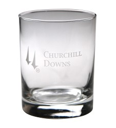 Churchill Downs Etched Round Double Old Fashioned Glass
