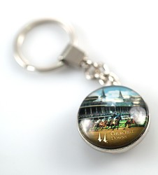 Churchill Downs First Turn Glass Keychain