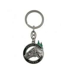 Churchill Downs Horse and Spires Circle Keychain,KKT9CD1N BLK/SL