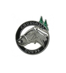 Horse and Spires Silver Circle Lapel Pin