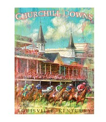First Turn Churchill Downs Giclee Canvas