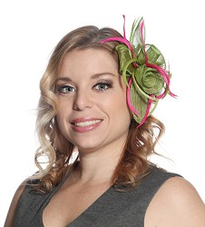 Flowers and Feather Clip Fascinator,LDF35-LIME