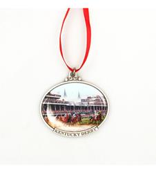 Kentucky Derby First Turn Ornament,KOR207 RED RIBB