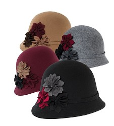 Ladies' Felt Flower Cloche