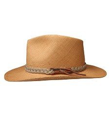 Men's Brown Band Straw Outback Hat Putty Beige Large
