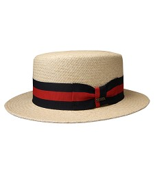 Red and Navy Band Hat Natural Beige Medium