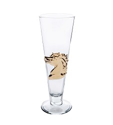 Sculpted Horse Pilsner Glass by Arthur Court,12-1062 24K 14O