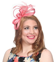 The Curley Cue Fascinator Coral