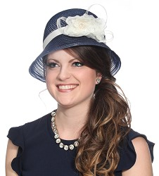 The Horsehair Cloche Hat Navy Blue