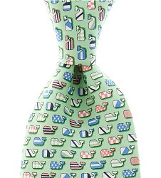 Vineyard Vines Silks Whales Tie,1T0501 GREEN