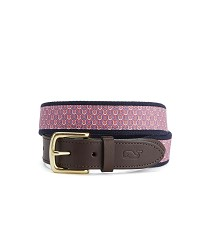 Vineyard Vines Geometric Horseshoe Belt Raspberry 34 inches