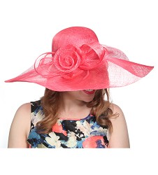 The Big Brim Rose Hat,54DERBY-CORAL