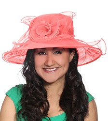 The Organza Rose Trim Hat,LD69-CORAL