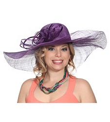 The Big Brim Rose Hat,54DERBY-PURPLE