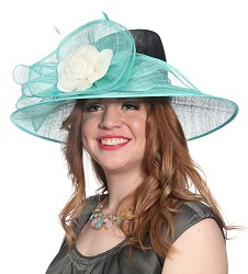 The Tall Crown Hat Black and Turquoise
