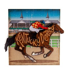 Kentucky Derby Horse & Jockey 2 Level Magnet