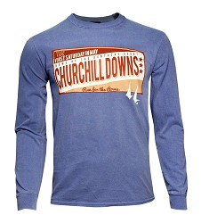 Churchill Downs Distressed Sign Long-sleeve Tee Indigo Blue Small