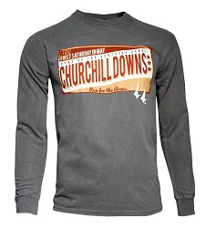 Churchill Downs Distressed Sign Long-sleeve Tee,3ZZ3_TACKLED OLR-GRY