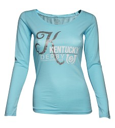 "Kentucky Derby Icon Curvy ""K"" Sparkle Tee Light Blue Medium"