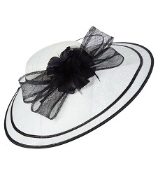The Sinamay Saucer Hatinator,LDF65-WHITE/BLK
