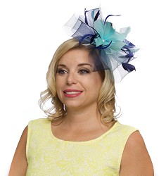 The Crinoline and Feathers Fascinator,KD86DERBYF-COBALT