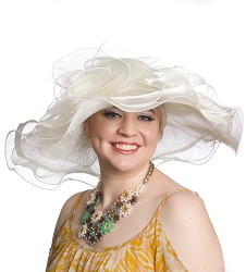 The Organza Trim Sinamay Hat,LD77-IVORY