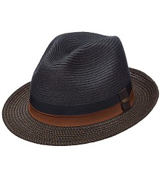 Men's Derby Two-Tone Paper Braid Fedora Black Medium