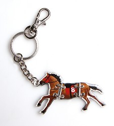 Kentucky Derby Tri-Fold Horse Key Ring