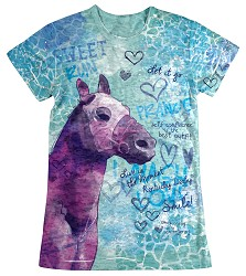 Girls' Horse Doodles Sublimated Tee Light Purple Youth 2/4