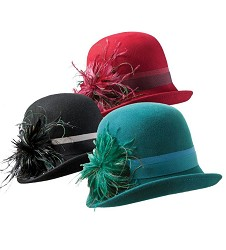 Ladies' Fashion Felt Cloche with Feathers