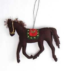 Felted Running Horse Ornament,LD096160