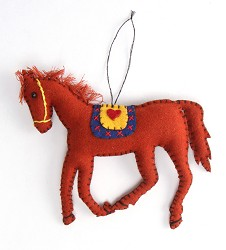 Felted Running Horse Ornament,LD096159