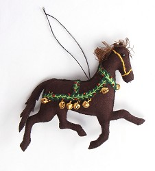 Felted Galloping Horse Ornament