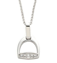 Rhodium-Plated English Stirrup Necklace