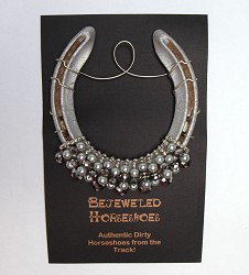 Silver Pearl Bejeweled Horseshoe,SILVER WITH PEARL