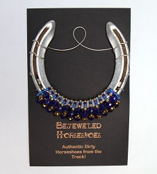 Blue and Gold Bejeweled Horseshoe,BLUE GOLD HORSESH