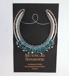 Turquoise and Crystal Bejeweled Horseshoe