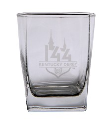 Kentucky Derby 144 Etched Square Double Old Fashioned Glass
