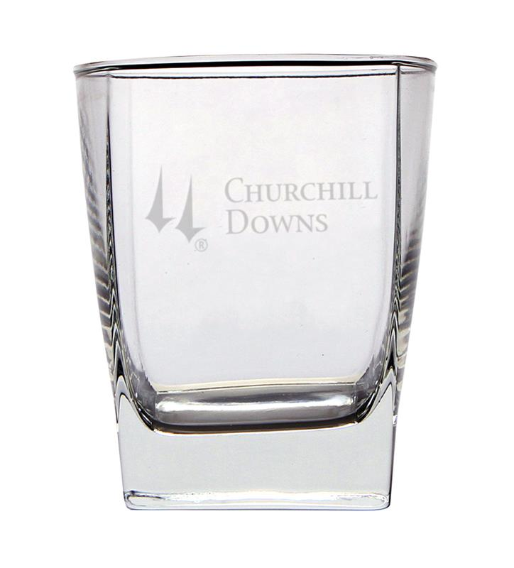 Churchill Downs Etched Square Double Old Fashioned Glass,03-204 LT ETCH 14 OZ