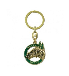Horse and Spires Gold Circle Keychain